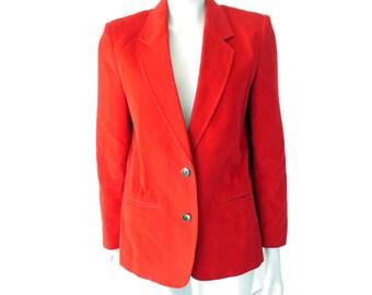 Vintage Red Corduroy Jacket//80s Womens Red Corduroy Blazer//  Classic Blazer Jacket// Size 8// 138