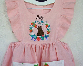 Toddler Baby Bear Dress Embroidery on Pink Linen