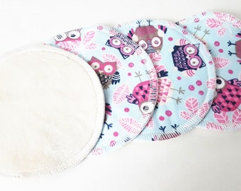 2 Sets of Owl Flannel Nursing Pads with Organic Bamboo Velour FREE Shipping