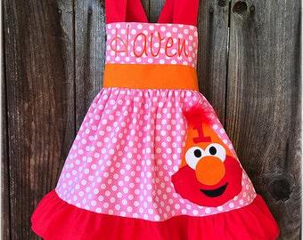Elmo Personalized  Birthday Dress, Elmo Birthday Hat, Elmo Toddler Dress, Bubble Gum Pink Elmo Party Dress