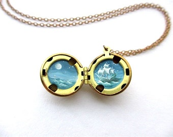 Oil-Painted Locket, Night Sailing under the Moon, Ghost Ship at Sea in Teal Greens