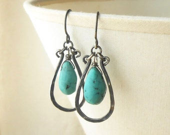 Rustic Turquoise Earrings, Oxidized Hammered Sterling Silver Dangle Earrings with Stone Drops, Boho Jewelry