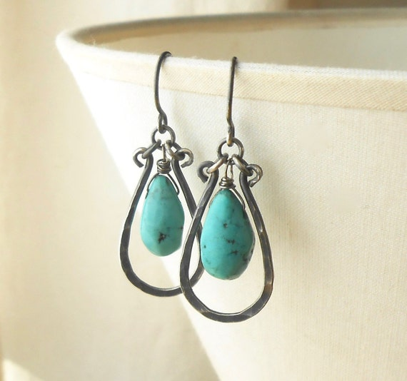Turquoise Earrings, Sterling Silver Hammered Drop Earrings, Oxidized Boho Earrings