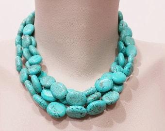 Multiple Strand Turquoise Necklace - Three Strand, Magnesite Turquoise Jewelry, Statement Neckace, Gemstone Handmade Jewelry