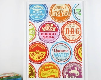 Bottle tops Screenprint - limited edition hand printed screen print - Free worldwide postage