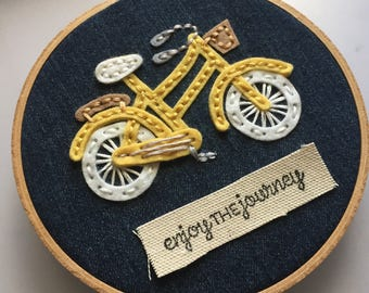 Enjoy The Journey - Yellow Bike Hoop Art