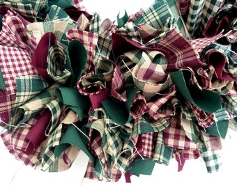 Rag Garland Burgundy Green Christmas Homespun Fabric Winter 6 Feet