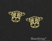 Exclusive - 6pcs Raw Brass Monkey Head Charm / Pendant, Geometric Monkey, Fit For Necklace, Earring, Brooch - TG367