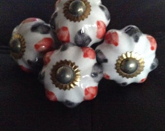 Ceramic knobs, hand painted, cabinet knobs pack of 4