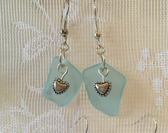 Tiny hearts on aqua beachglass earrings with silver plated wires,  vintage broken glass earrings, seaglass inspired