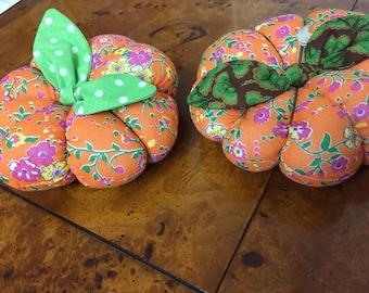 Vegan Orange Pumpkin Pincushion Decor Piece Grown in the United States