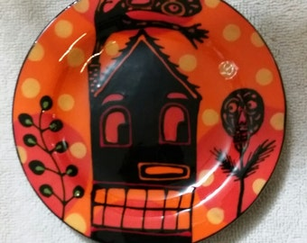 Halloween Haunted House Ghost Retro Vintage Ceramic Plate Hand Painted by Sharon Bloom Designs