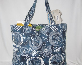 Cranes and Turtle Design Heavy Duty Grocery Market or Equipment Tote Midnight Blue