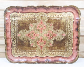 "Vintage Wooden Serving Tray Italy Souvenir 14"" Pink Gilt Gold Wood Retro"