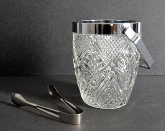 Glass Ice Bucket & Silver Tongs {Vintage Ice Bucket Wine Cooler Ornate Engraved Urn Vase Bar Cart Buffet Trophy}