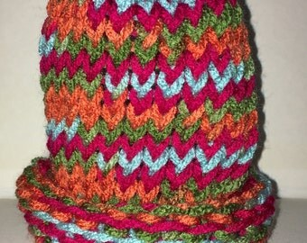 Fruit Punch Preemie & S Newborn Yarn Knit Beanie - Up to 10 lbs - Turquoise, Red, Orange, Green - Unisex Baby Hat - Powerful Color Scheme