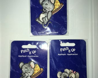 Vintage 90s Three 'Patch it Up' Iron-on Applqués - 2 sleeping mice on cheese and 1 pair boy & girl mouse