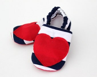 Baby girl shoes Soft Sole Shoes Slip on Shoes Walking Shoes Navy stripes red heart Infant girl shoes baby shower gift SWAG booties crib shoe