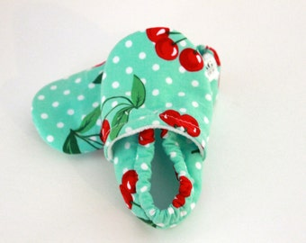 Baby girl shoes Baby Booties walking shoes Baby cherry shoes Infant Shoes toddler SWAG booties Mint Green cherries polkadots girl crib shoes
