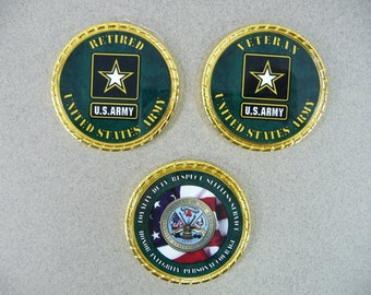 US ARMY Retired Veteran Challenge Coin Retirement Custom Personalized Memorial Coin  Logo Name Rank Military Gift