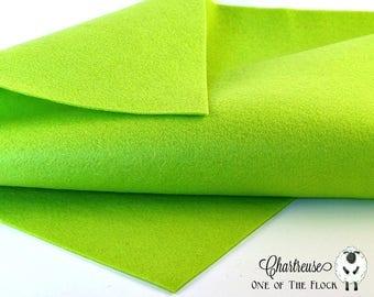 Chartreuse Wool Felt, Merino Wool Blend Felt, Wool Felt Yardage, Wool Felt Fabric, Green Felt Fabric, Green Felt Yardage, Bright Green Felt
