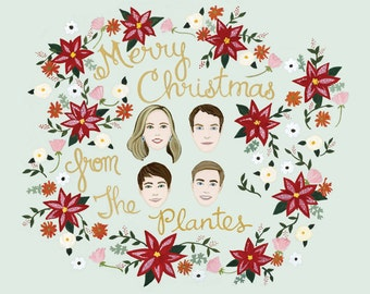 Custom Christmas Card - Custom Christmas Card Portrait - Custom Family Portrait - Custom Illustrated Portraits - Poinsettia Christmas Card