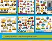 50% OFF SALE Transportation Collection Clipart Bundle - cars, construction trucks, boat, planes digital clip art - commercial use, instant d