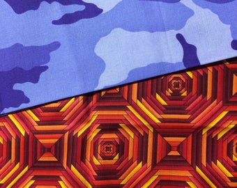 Orange geometric and purple camo fat quarter fabric