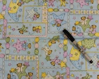 Teddy bear bedtime Patchwork on blue 100% cotton fabric by Leslie Beck Cranston village