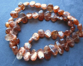 Yummy Sunstone AA Nuggets - semipecious gemstone beads - 7 1/2 inches - graduated