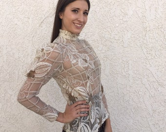 Vintage 80's sheer lace floral puff sleeve blouse