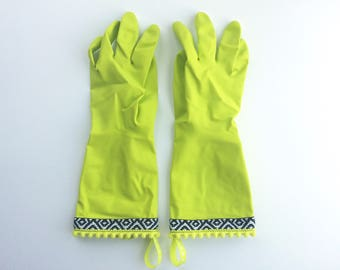 Designer Cleaning Gloves - Neon Green Tribal - Size Small