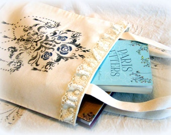 Canvas tote, chandelier, roses, lace, market bag, shabby chic, book bag