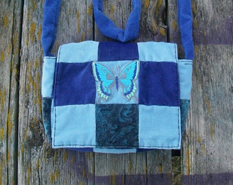 Blues Butterfly Patchwork Recycled Corduroy Crossbody Purse