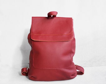 SALE Leather Backpack in Cranberry / Leather Backpack / Leather Bag / Red Leather Bag / Big Backpack / Red Backpack / Laptop Backpack