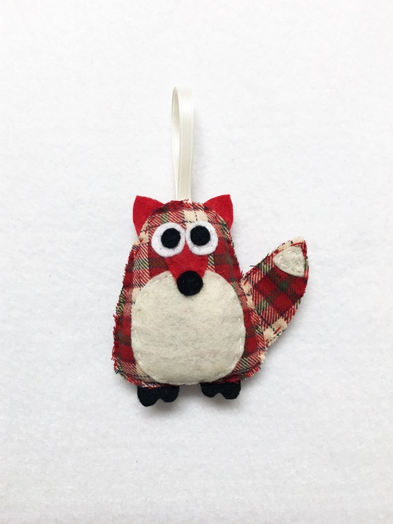 Fox Ornament, Red Fox, Plaid Christmas Ornament, Felt Ornament, Felt Animal, Arnold the Red Plaid Fox, Secret Santa Gift