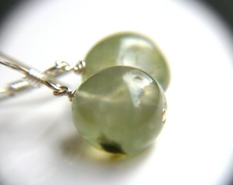 Prehnite Earrings . Natural Stone Earrings . Memory Jewelry . Green Gemstone Earrings Silver . Round Drop Earrings - Verdigris Collection