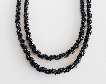 42  lnch long black rope necklace