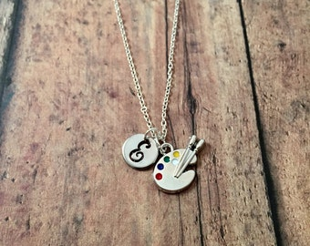 Artist palette initial necklace- artist jewelry, teacher jewelry, gift for art teacher, painter gift, art teacher necklace, palette jewelry