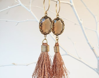 metallic rose gold copper tassels with chocolate brown transparent stones on round 24k gold plated hook earrings