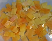 """Mosaic Tiles 100 SUNSET 1/2 - 1"""" yellow orange Stained Glass Mosaic Tiles"""
