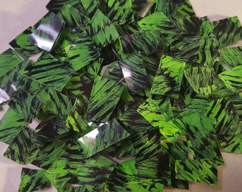 Mosaic Tiles LIME GREEN BLACK Glass Mosaic Tile Mosaic Supplies Mosaic Pieces Stained Glass