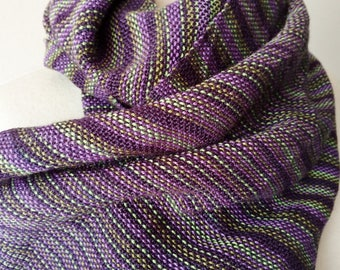 Handwoven Scarf in Purple and Green - Long Fringed Traditional Handwoven. 100% Nylon