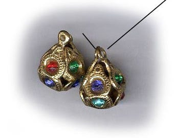 vintage rhinestone bead charms two chased gold rhinestone beadball charms or drops