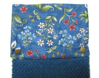 NEW! Towel, Hanging towel ,Hand towel, Kitchen towel, bar towel, oven, snap on towel, guest towel, camper,  100% cotton, Pretty blue floral