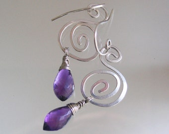 Sterling Spiral Earrings with Amethyst, Purple and Silver Nautilus Dangles, Small and Lightweight, Original Design, Signature