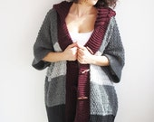 WINTER SALE Plus Size Boyfriend Cardigan with Hoodie - Gray Burgundy Black