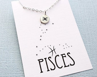 Pisces Jewelry | Tiny Pisces Necklace, Zodiac Jewelry, Zodiac Necklace, Celestial Jewelry, Astrology Jewelry, Zodiac Sign Necklace, Zodiac