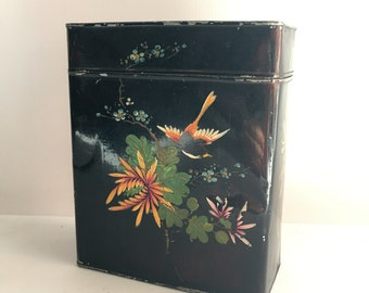 1940s Japanese Green Tea Caddy Chazutsu Hand Painted Rectangle Tin Green Tea Black Shabby Asian Decor