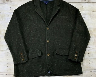 Vintage Lands End Green 3-Pocket Wool Blend Button Up Sweater Menswear Mens Size XL
